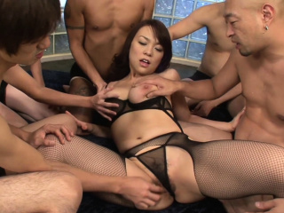 Gangbanging a big titty Asian hottie
