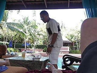 no panties short at resort with voyeur